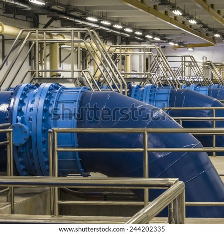 Backwash water Pipeline in Water Treatment Plant - stock photo