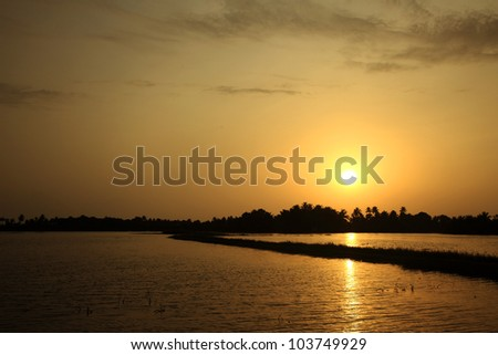 Backwater scenery at evening time in Kerala, India.