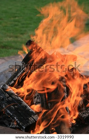 backyard firepit in a yard - stock photo