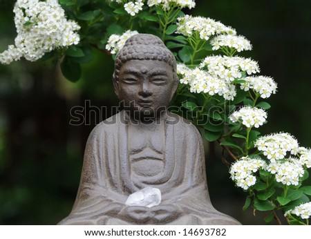 Backyard Garden Buddha - stock photo