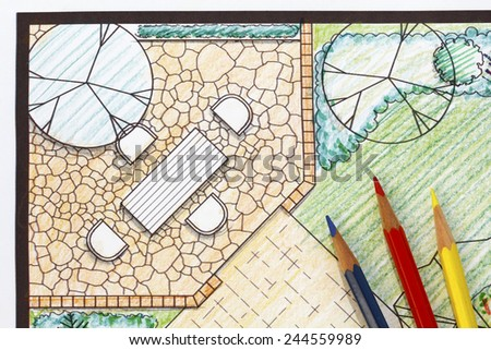 Backyard garden plan with stone patio - stock photo
