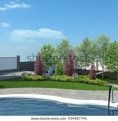 Backyard horticultural background, 3d render - stock photo