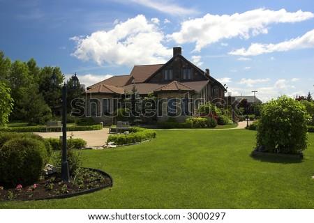 Backyard of large mansion estate (Edgewater Manor in Stoney Creek, Ontario) - stock photo