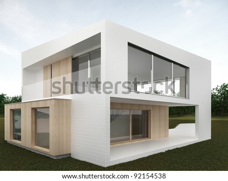 backyard of modern house - computer generated visualization. Mosaic and wood facade in european style of architecture. - stock photo