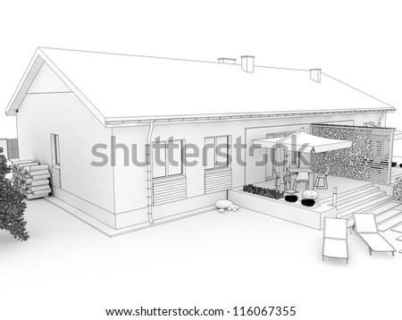 Backyard of modern house with terrace - computer generated visualizationin sketchy style. Top view. - stock photo