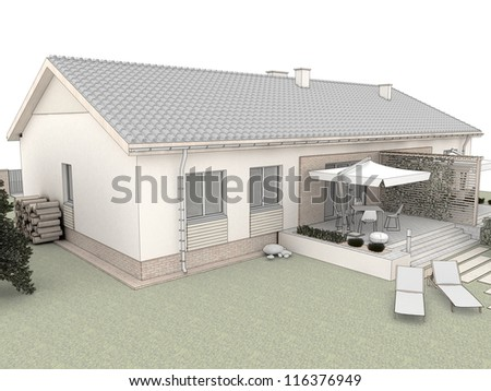 Backyard of modern house with terrace - computer visualization. - stock photo