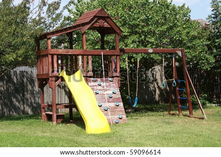 backyard play area - stock photo