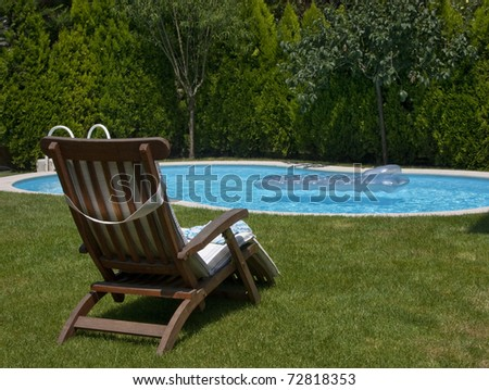 Backyard pool - stock photo
