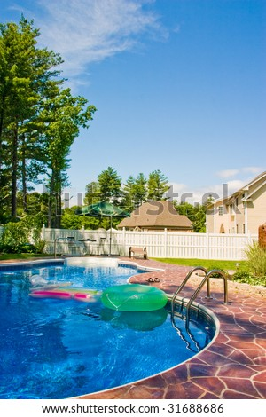 Backyard pool on a summer day. - stock photo