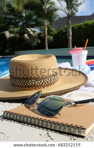 Backyard Pool Party Items Including Sunglasses Water Melon Bottle Alcoholic