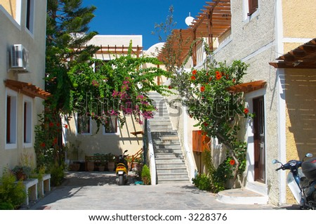 backyard Santorini island Greece - stock photo