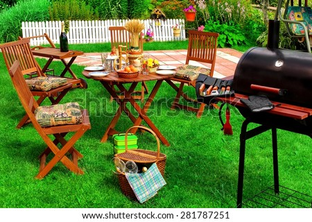Backyard Summer BBQ & Cocktail Party Or Picnic On The Lawn Scene And Concept - stock photo