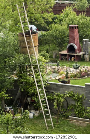 Backyard with ladder, brick constructions and green, natural background