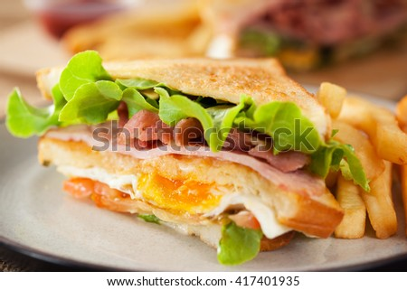 bacon and ham sandwich with french fries - stock photo