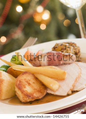 Bacon,Bangers,Beignet,Christmas,Food - stock photo