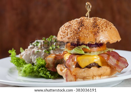 Bacon Burger with Beef and Potato Salad