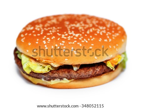 Bacon cheese burger isolated on white background - stock photo