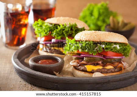 bacon cheese burger with pickles tomato onion - stock photo
