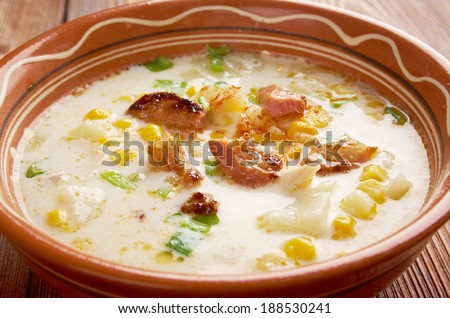 ... England clam chowder, with corn substituted for clams - stock photo