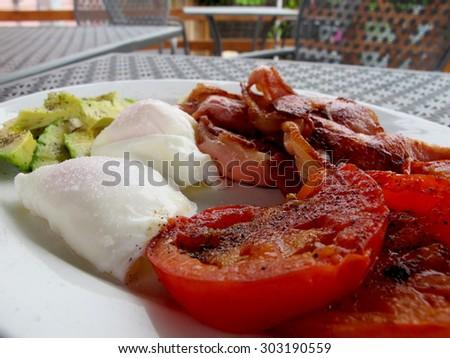 Bacon Egg and Feta Salad - stock photo