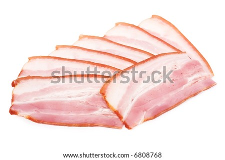 Bacon. Image series of different food on white background