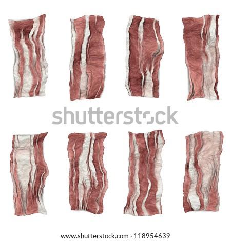 bacon isolated on white background - stock photo