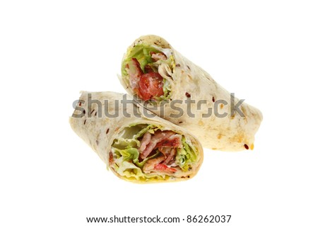 Bacon, lettuce and tomato bread wraps isolated against white