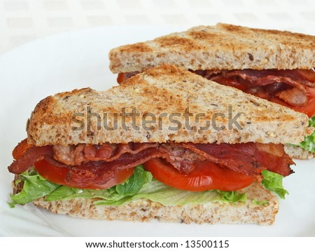 bacon, lettuce and tomato sandwich on toasted multigrain bread