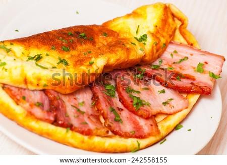 Bacon omelet - stock photo