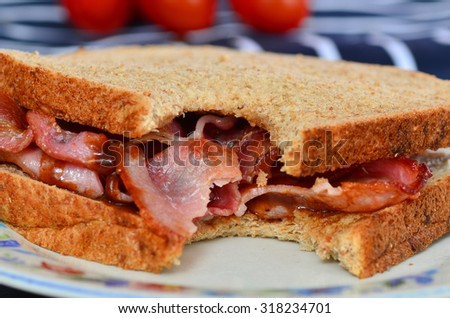 Bacon sandwich with brown sauce