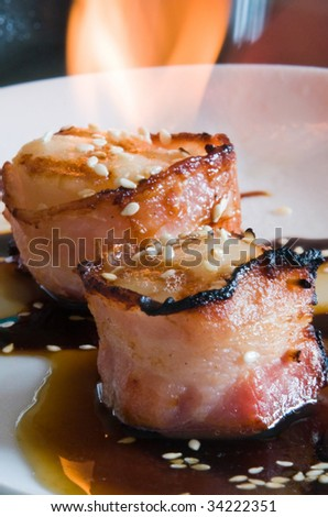 grilled Scallops with soy ginger reduction, garnished with sesame ...