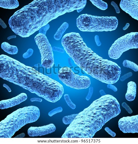 Bacteria and bacterium cells floating in microscopic space as a medical illustration of bacterial disease infection in a human body or organic substance as a health care icon. - stock photo