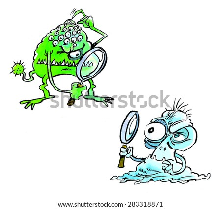 Bacterias with magnifying glass in a cartoon style. - stock photo