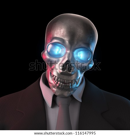 Bad Banker with glowing Euro Eyes 3D - stock photo