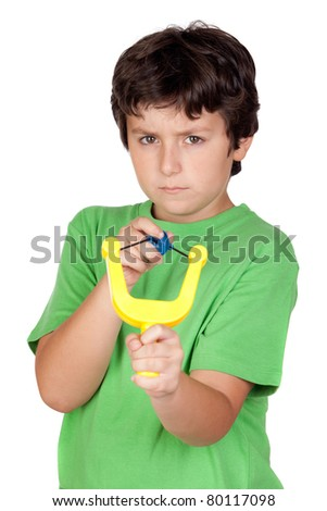 Bad boy with a slingshot isolated on white background - stock photo