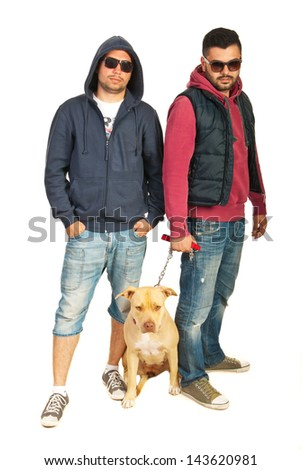 Bad boys with pitbull isolated on white background - stock photo