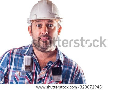 Bad Builder in a dirty hard hat - stock photo