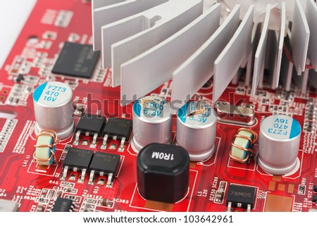 Bad capacitors on the graphics card. This problem exists  in computer motherboards, graphics cards, monitors,  televisions, radios, and stereo equipment. - stock photo
