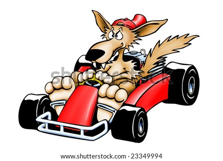 Bad cartoon wolf racing in a red kart - stock photo