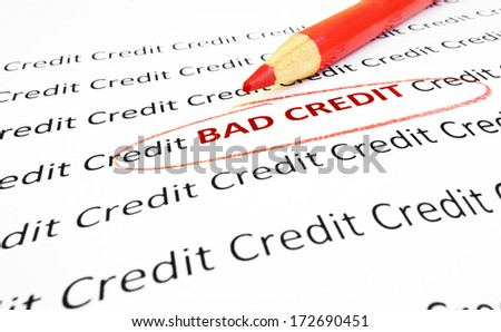 Bad Credit text circled in red pencil
