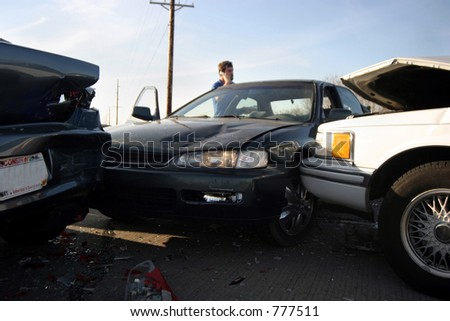 bad day car accident - stock photo