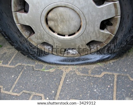 bad day for owner car - punctured tyre car, - stock photo
