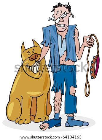 Bad dog and his battered owner - stock photo