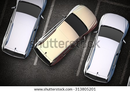 Bad Driver on Parking - Strangely Parked Car on the Parking. Top View Illustration. - stock photo