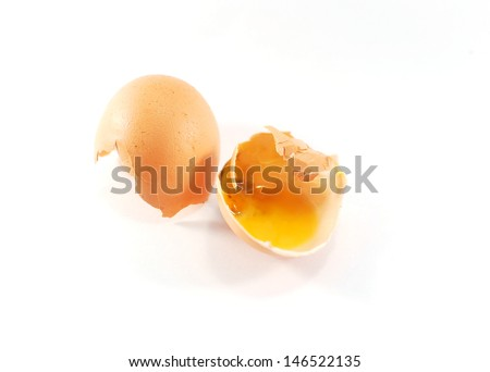 Bad eggs on white background - stock photo