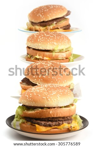 Bad food burgers Plate and fries beef isolated on white  - stock photo