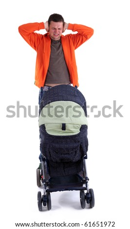 bad, furious, angry father with raised hands and baby buggy - stock photo