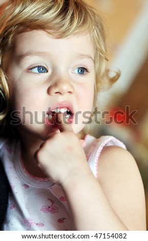 bad habit for children - nail-biting - stock photo