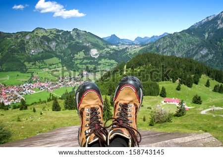 Bad Hindelang village in the Allgauer Alpen, allgau, oberallgau, bavaria, germany - stock photo