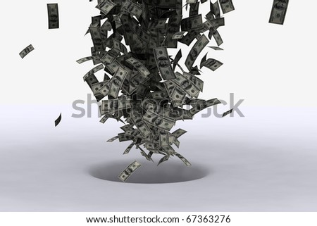 bad investment concept with dollar bills being sucked into a hole - stock photo